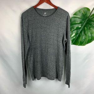 H&M Shirts - H & M crew neck waffle knit long sleeve gray Large